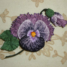 Load image into Gallery viewer, French Ribbon Pansies with Fancy Picot Detail
