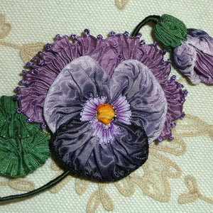 French Ribbon Pansies with Fancy Picot Detail