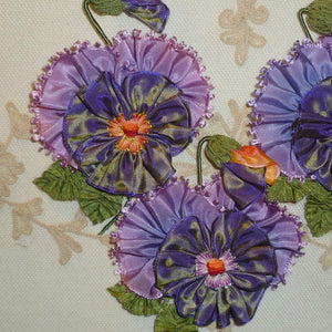 Lavender and Ombre Ribbon Pansy With Vintage Picot Petals