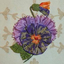 Load image into Gallery viewer, Lavender and Ombre Ribbon Pansy With Vintage Picot Petals