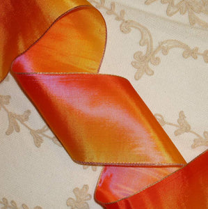 Antique French Ombre Ribbon with Gold METAL Edge