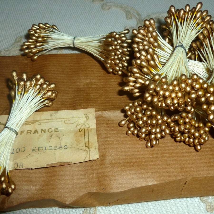 Antique French Gold and Silver Stamens Millinery Ribbonwork