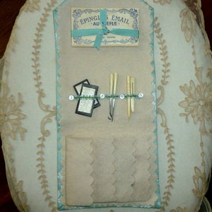 Hand Sewn French Inspired Sewing Case with Antique Trims