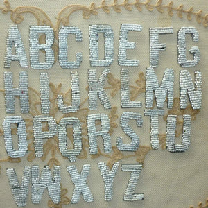 Antique French Beaded Letters Ivory