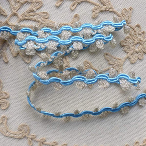 Vintage French Silver and Blue Rococo Trim