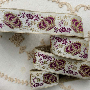 Victorian Royalty Gold Metal and Purple Crown Ribbon