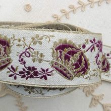 Load image into Gallery viewer, Victorian Royalty Gold Metal and Purple Crown Ribbon