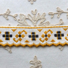 Load image into Gallery viewer, Art Deco Yellow and Black Cotton Trim Scalloped Edge