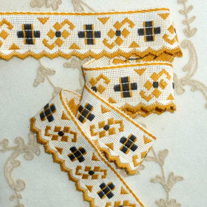 Art Deco Yellow and Black Cotton Trim Scalloped Edge