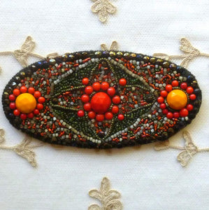 Antique Hand Beaded Applique
