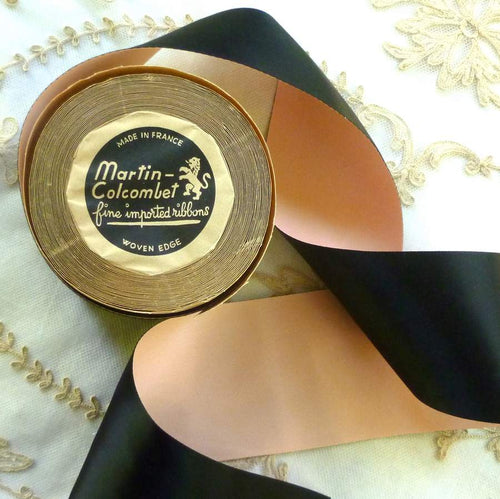 Vintage French Pink and Black Satin Ribbon