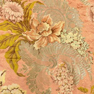Belle Époque French Silk and Silver Metal Threads  Floral Brocade Yardage