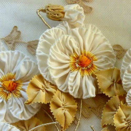 Golden and Yellow Ombre French Ribbon Pansy