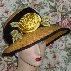 Vintage Yellow Satin Rose with Gold Metal Picot and silk Ombre Ribbon Leaves