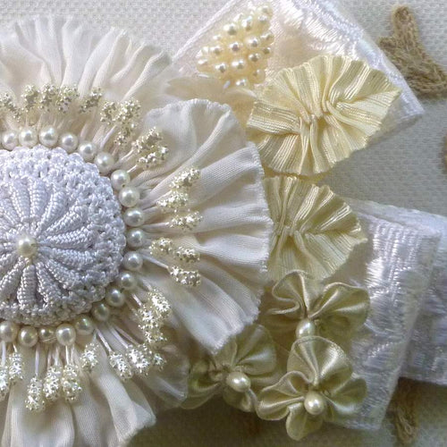 Vintage French Ribbon and Pearls Floral Ribbonwork