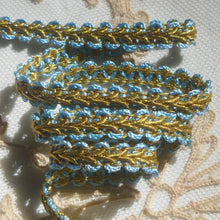 Load image into Gallery viewer, Antique French Blue and Gold Metal Passementerie