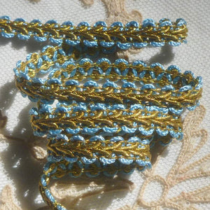 Antique French Blue and Gold Metal Passementerie
