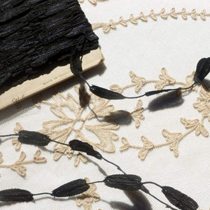 Antique Finely Detailed Black Leaf Garland