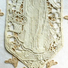 Load image into Gallery viewer, Antique Needle Lace Applique Lady With Basket