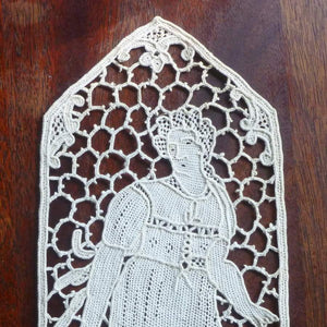 Antique Needle Lace Applique Lady With Basket