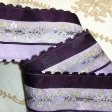 Load image into Gallery viewer, Fine Vintage French Brocade Ribbon Violet Flowers