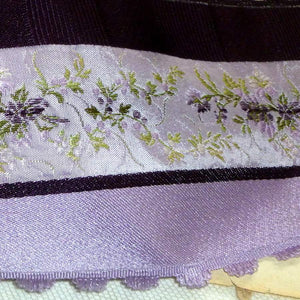 Fine Vintage French Brocade Ribbon Violet Flowers