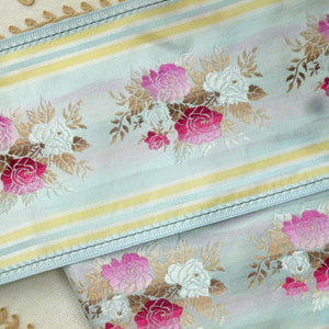 Vintage French Wide Taffeta Ribbon With Woven Ombre Roses
