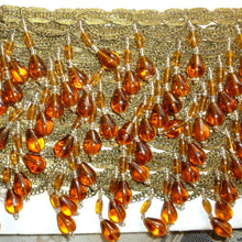 Load image into Gallery viewer, Amber Glass & Gold Metal Beaded Trim Circa 1920's