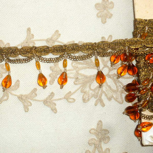 Amber Glass & Gold Metal Beaded Trim Circa 1920's