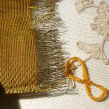 Load image into Gallery viewer, Antique Brass Metal Warp and Marigold Cotton Weft Ribbon