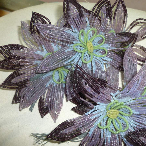 Three Different Antique French Glass Beaded Flowers