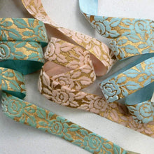 Load image into Gallery viewer, Vintage Gold Embossed Velvet Ribbon