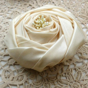 Classic French Designer Styled Silk Cabochon Rose