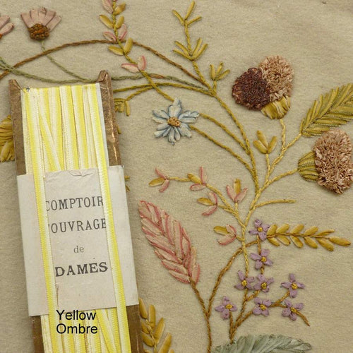 Antique French Silk Ombre Embroidery Ribbons 1 Yard