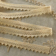 Load image into Gallery viewer, Antique Cotton Lace with scalloped fringed edge