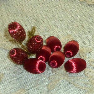 Vintage Silky Floss covered Beads