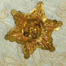 Load image into Gallery viewer, Antique Gold Metal Sequin and Gold Bullion Embroidered Applique