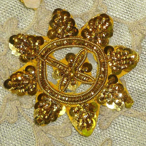 Antique Gold Metal Sequin and Gold Bullion Embroidered Applique