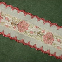 Load image into Gallery viewer, Vintage French Roses & Scalloped Edged Ribbon 2 inch width