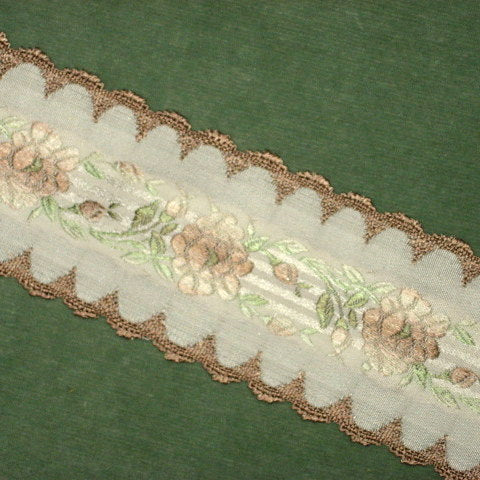 Vintage French Roses & Scalloped Edged Ribbon 2 inch width