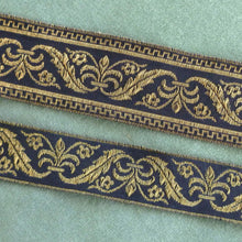 Load image into Gallery viewer, Vintage French Metal Trim/ Black & Gold