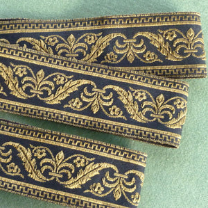 Vintage French Metal Trim/ Black & Gold