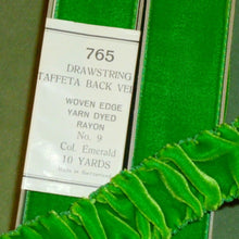 Load image into Gallery viewer, Vintage Emerald Green Velvet Ribbon Taffeta Back Drawstrings Color of the year 2013