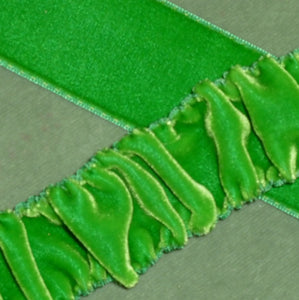 Vintage Emerald Green Velvet Ribbon Taffeta Back Drawstrings Color of the year 2013