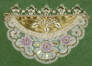 Superb Antique French Ribbon Lace Embroidered Rhinestone Spangeled Appliqué