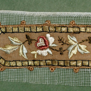 Antique Silk & Gold Metal Thread Embroidered Appliqué
