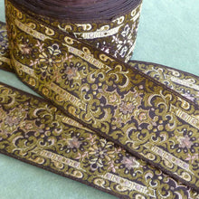 Load image into Gallery viewer, Vintage French Brocade Ribbon Gold Metallic Threads