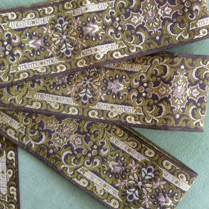 Vintage French Brocade Ribbon Gold Metallic Threads
