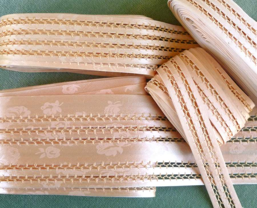 Vintage 1930's Pink Satin & Feather Stitch Lingerie Trim