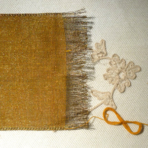 Antique Brass Metal Warp and Marigold Cotton Weft Ribbon